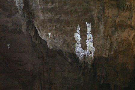 Projection d'une vidéo sur la paroi rocheuse de la grotte des Demoiselles